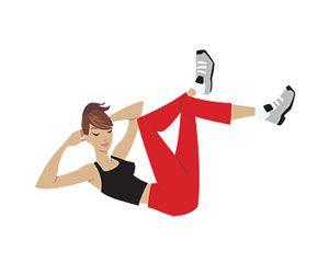 4- Bacaklarınız kırık ve üst üste atmış şekilde yere uzanın. Ellerinizi başınızın arkasına koyun. Bu şekilde en az 10 tane mekik çekin. Daha sonra vücudunuzu 90 derece çevirerek, şekildeki gibi gövdenizi bacaklarınıza değdirmeye çalışın. Aynı hareketi diğer bacağınız için de yapın. Egzersizi 10'ar defa tekrarlayın.